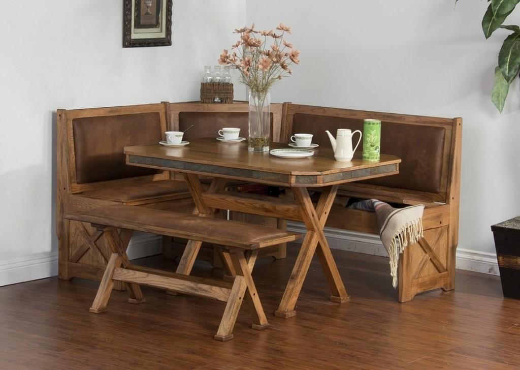 0219ro Sedona Rustic Oak Breakfast Nook Side Bench