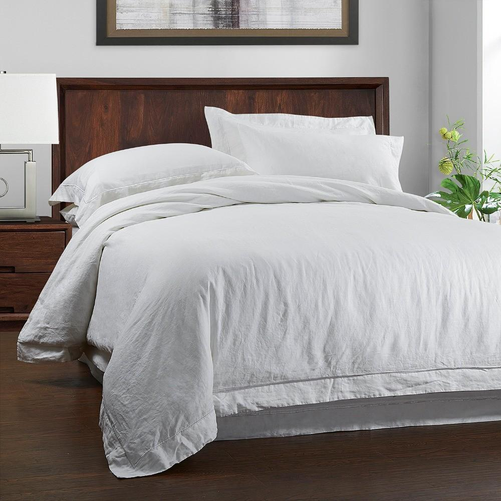 100 Linen Stone Wash Bedding Set Duvet Cover Pillow