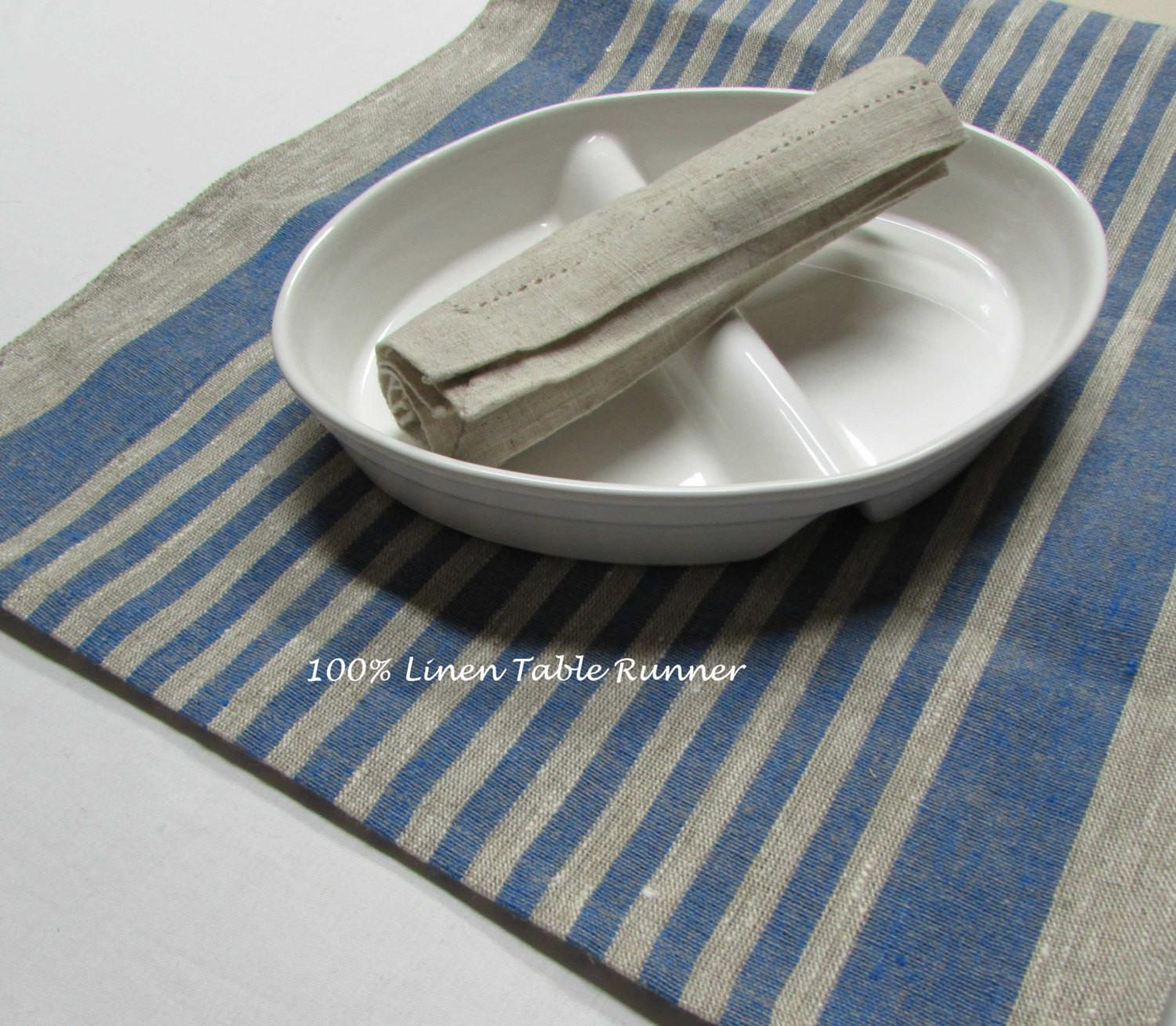 100 Stripe Linen Table Runner Rustic Tablecloth