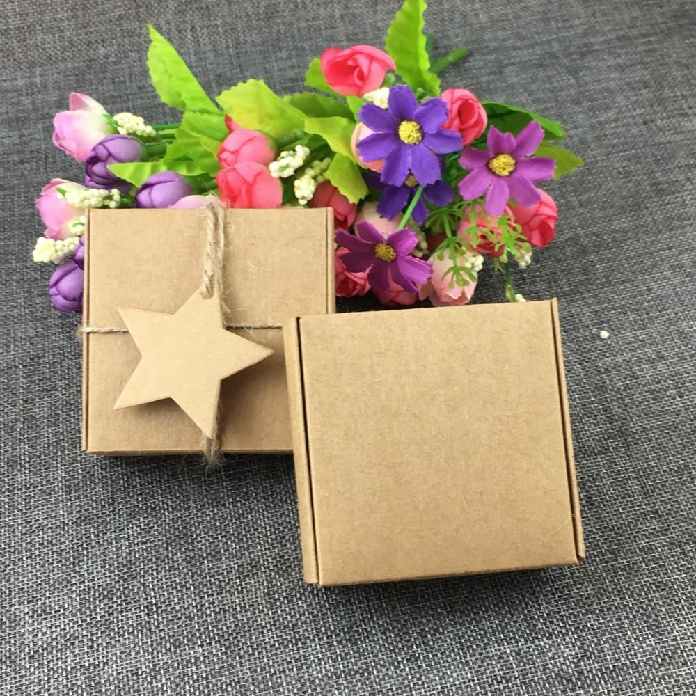 100pcs 3cm Brown Kraft Gift Boxes Blank Small