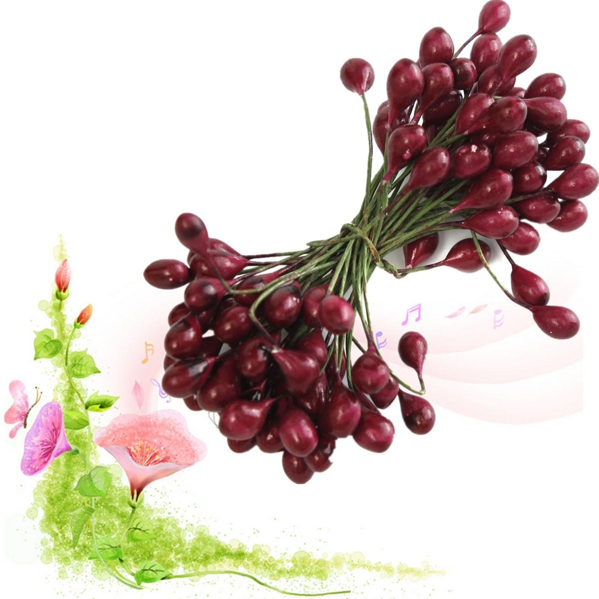 100pcs Artificial Red Holly Berry Berries 8mm Home Garland