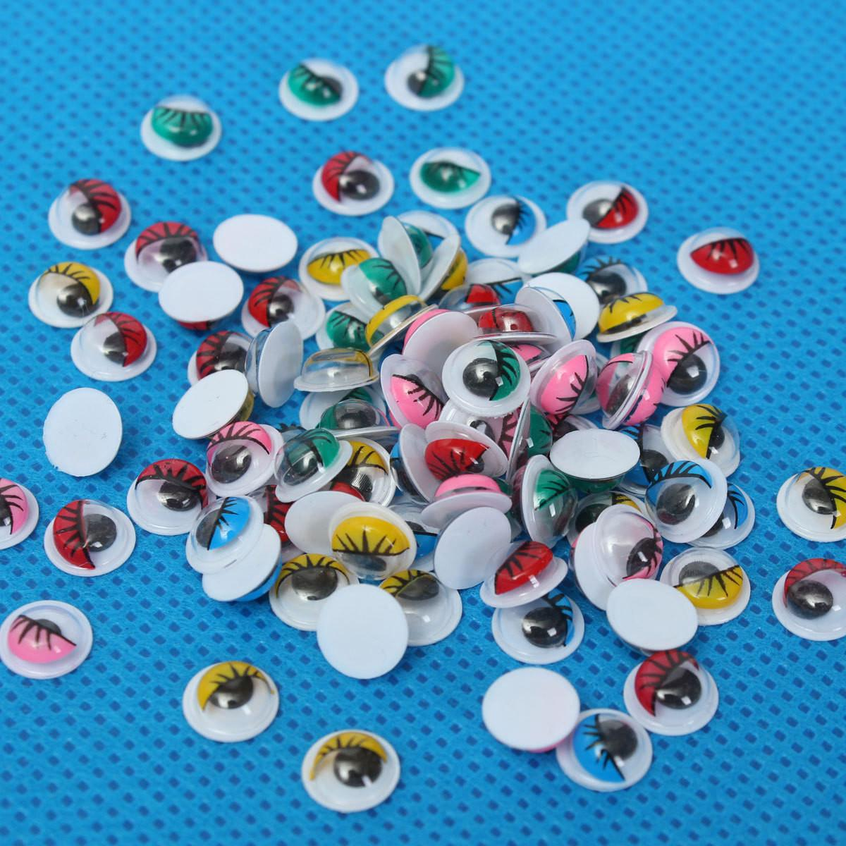 100pcs Coloured Eyelashes Wiggly Wobbly Googly Eyes