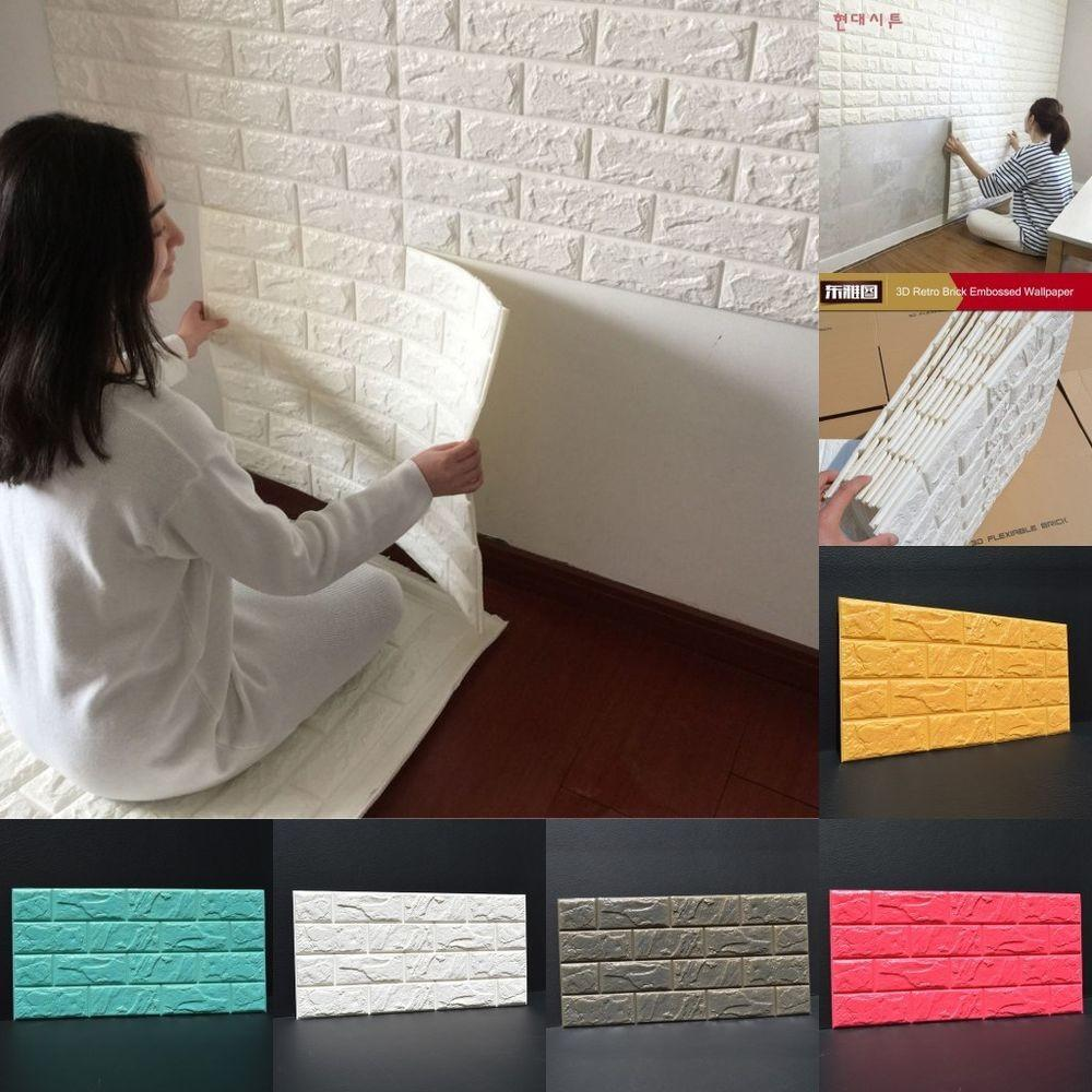 100pcs Foam Stone Brick Self Adhesive Diy