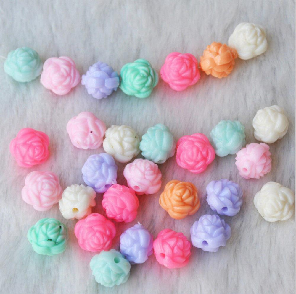 100pcs Mix Color Jewelry Beads 12mm Flower Rose Kids