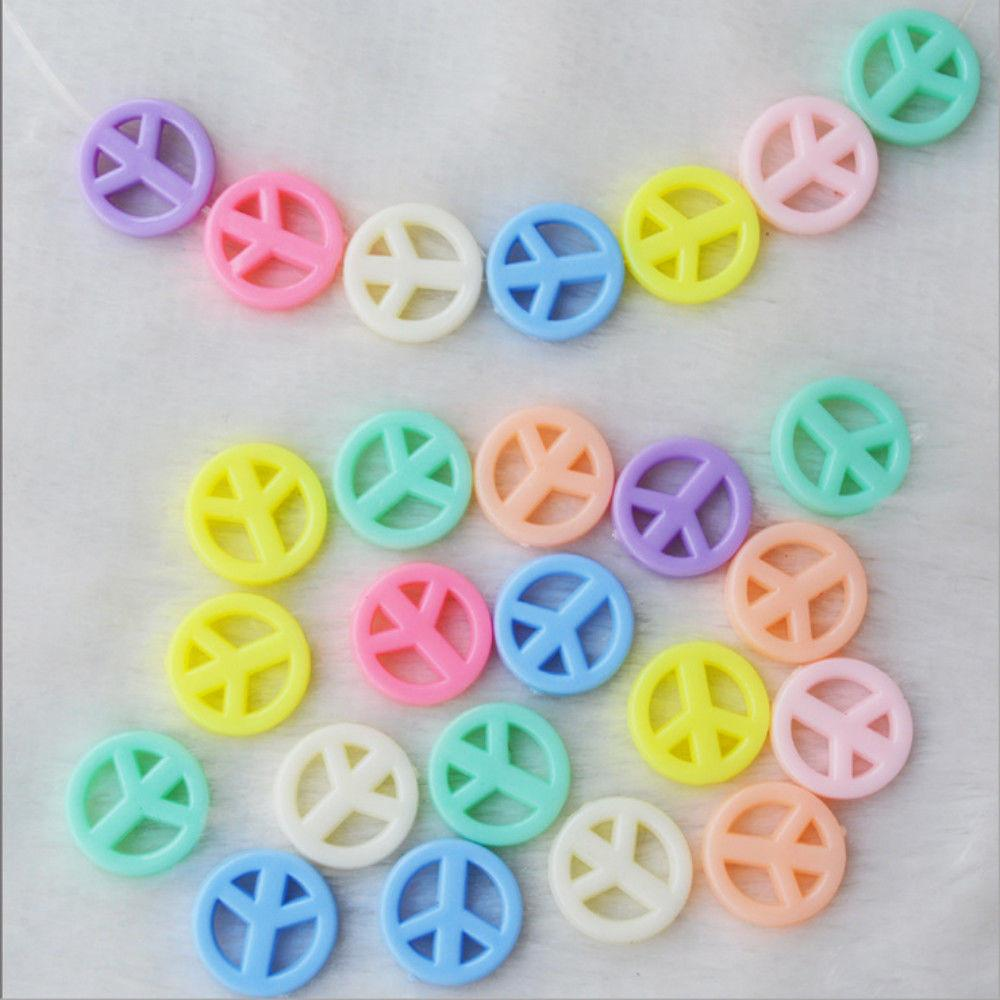 100pcs Mix Color Jewelry Beads 16mm Peace Kids Crafts