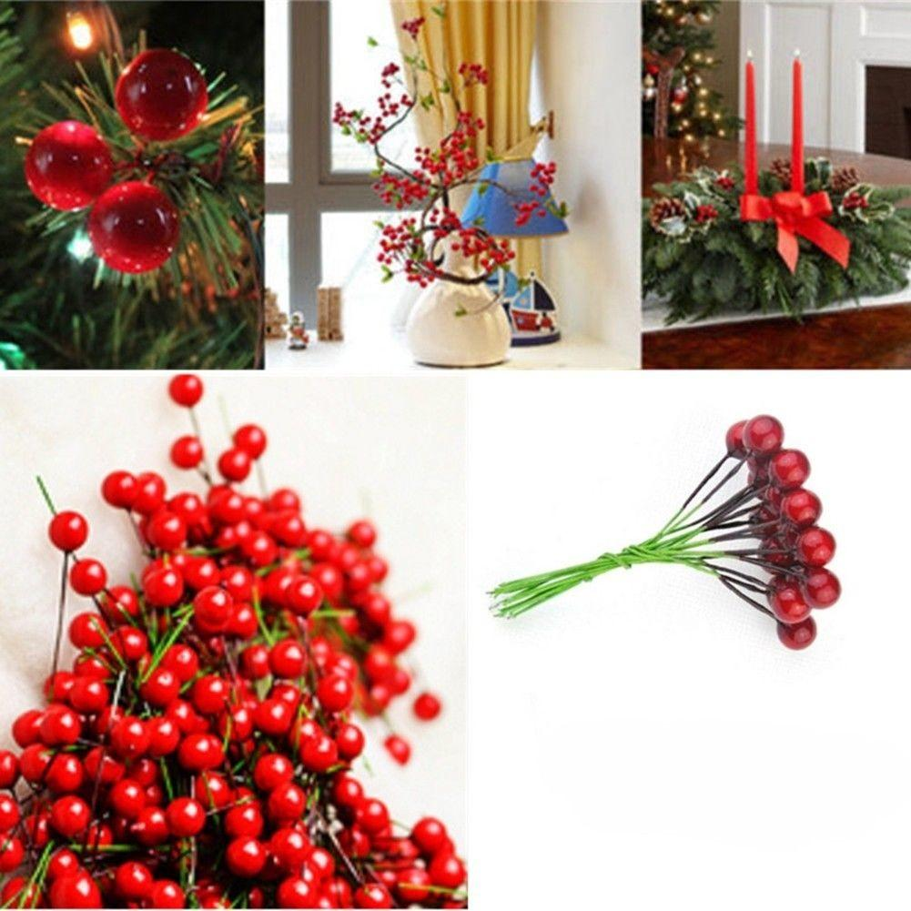 100x Christmas Leaf Tree Fruit Cherry Branch Ornaments