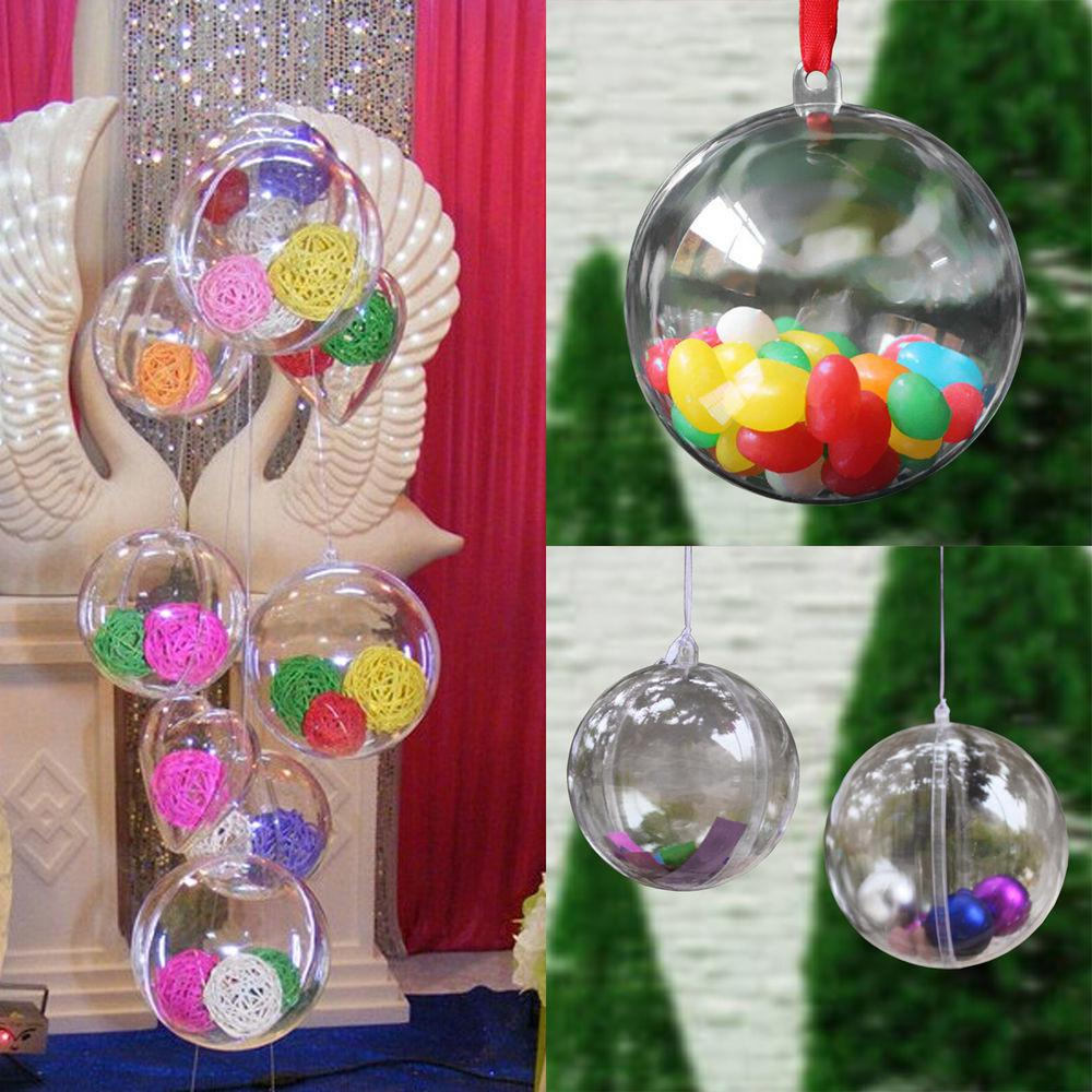 100x Clear Plastic Ball Diy Christmas Tree Hanging