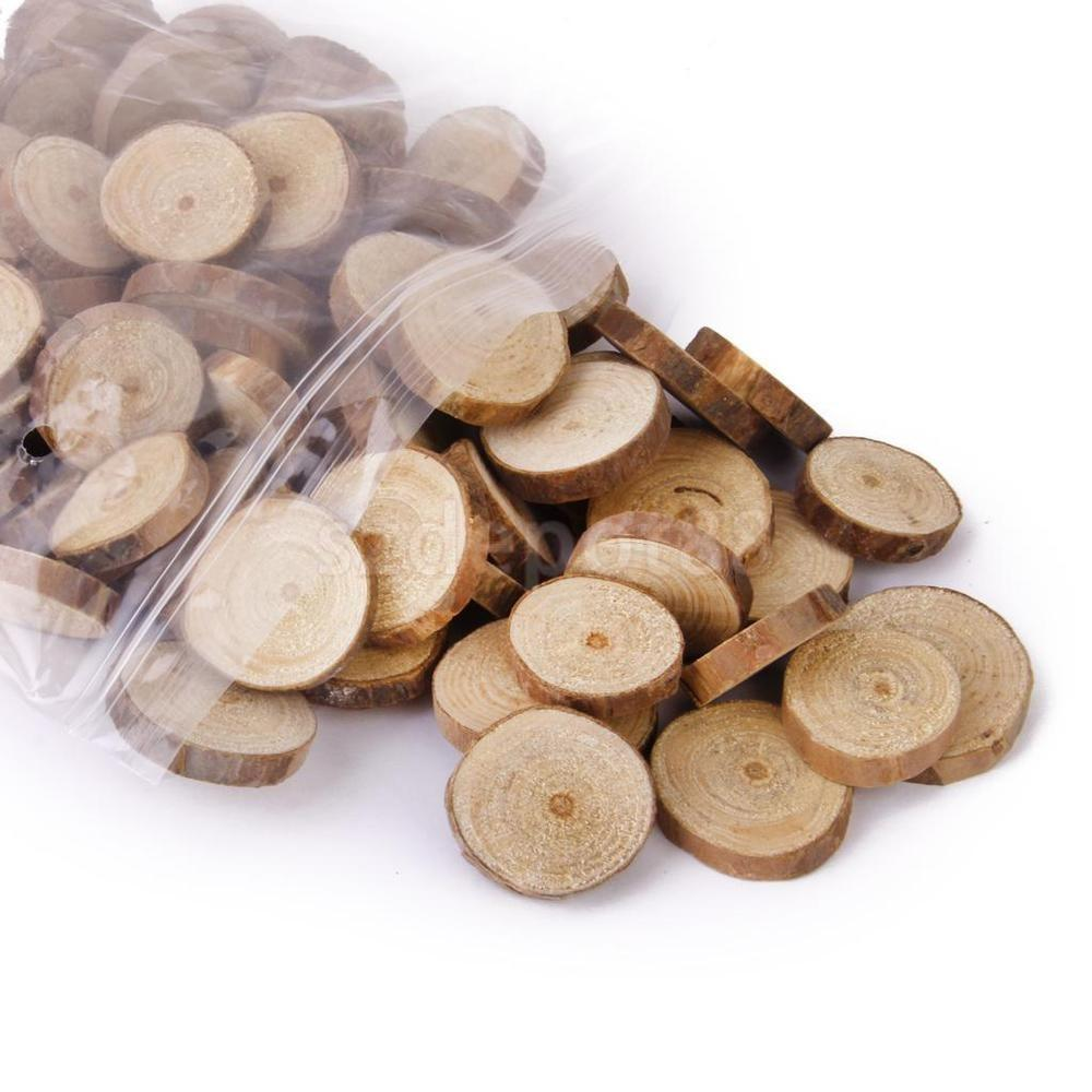 100x Natural Wood Log Slices Rustic Wedding Party