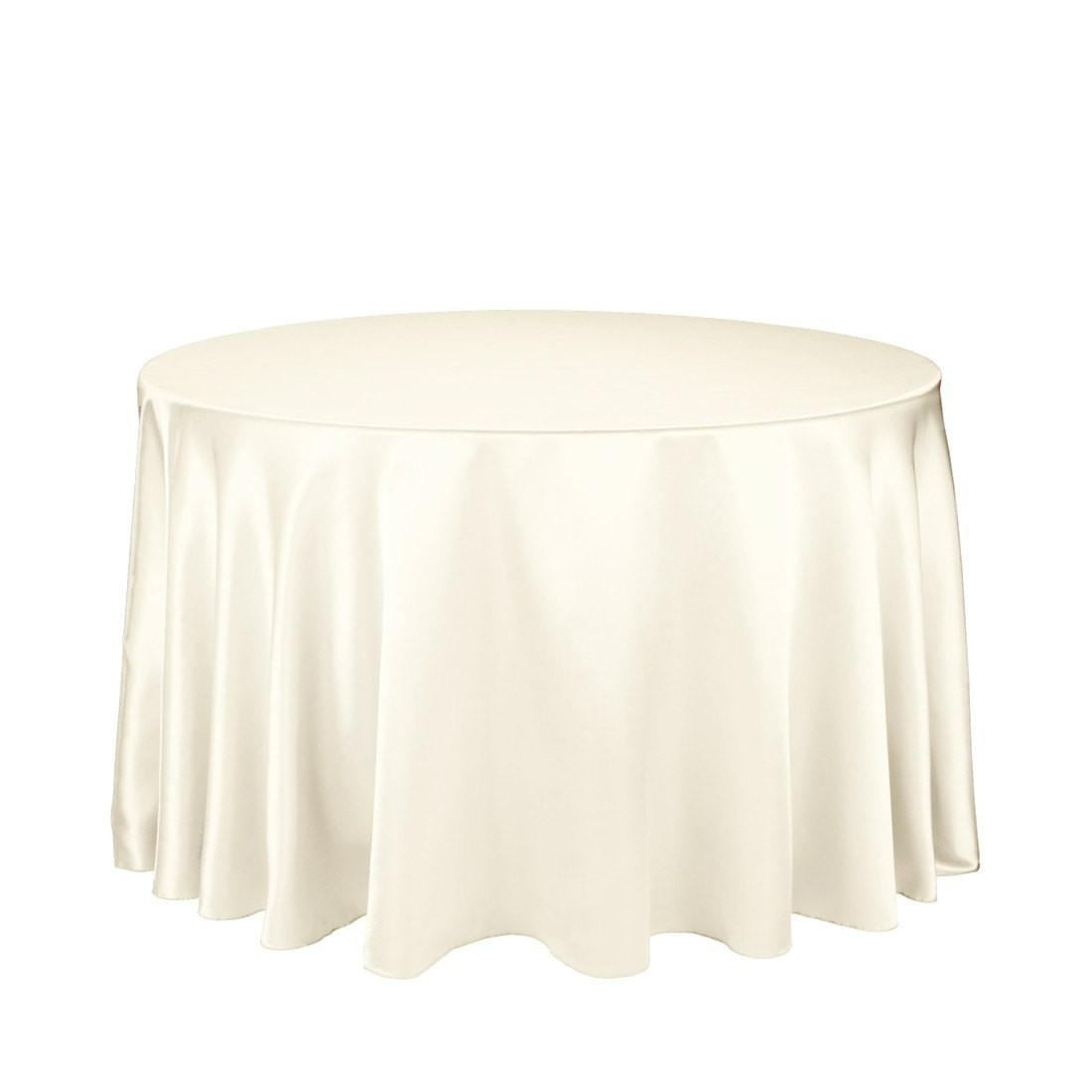108 Inch Ivory Round Tablecloth Satin Wedding Table Cloths