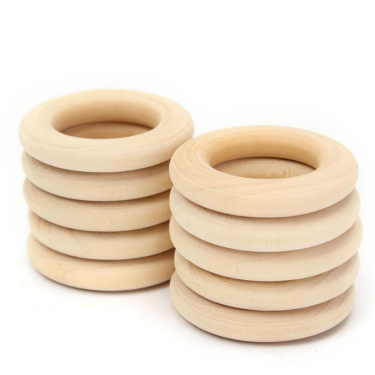 10pcs 34mm Diy Natural Wooden Round Rings Necklace Craft