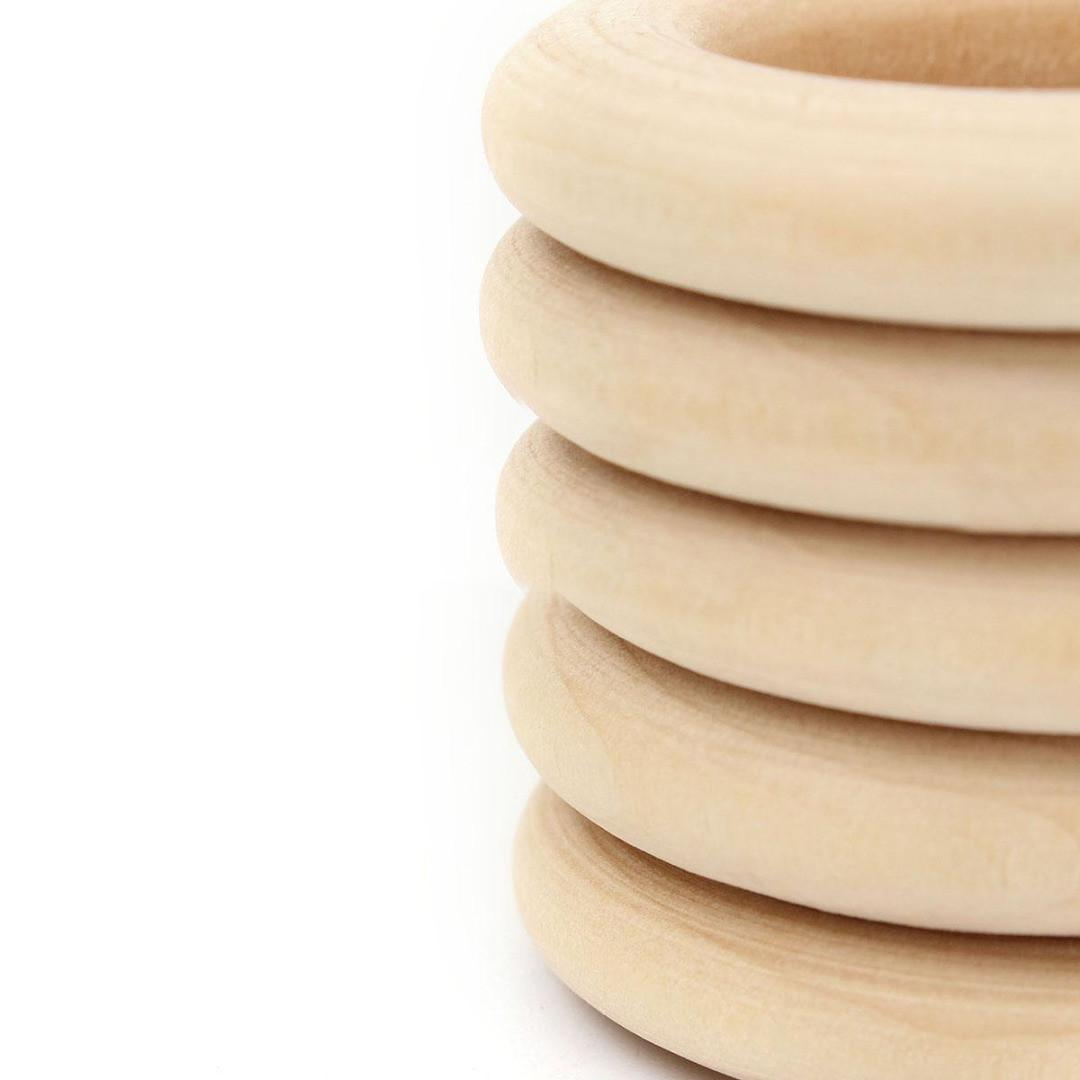 10pcs 55mm Unfinished Natural Wooden Round Rings Diy