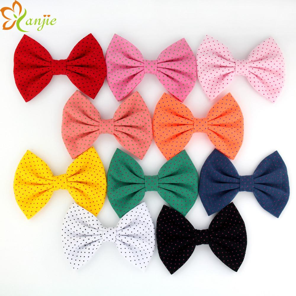 10pcs Lot 2018 New Arrival Dot Cotton Hair Bow Without