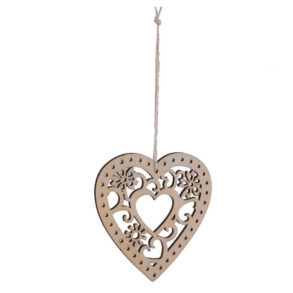 10pcs Wooden Hollow Flower Hearts String Crafts