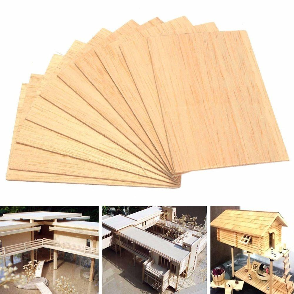 10pcs Wooden Plate Model Balsa Wood Diy House Ship