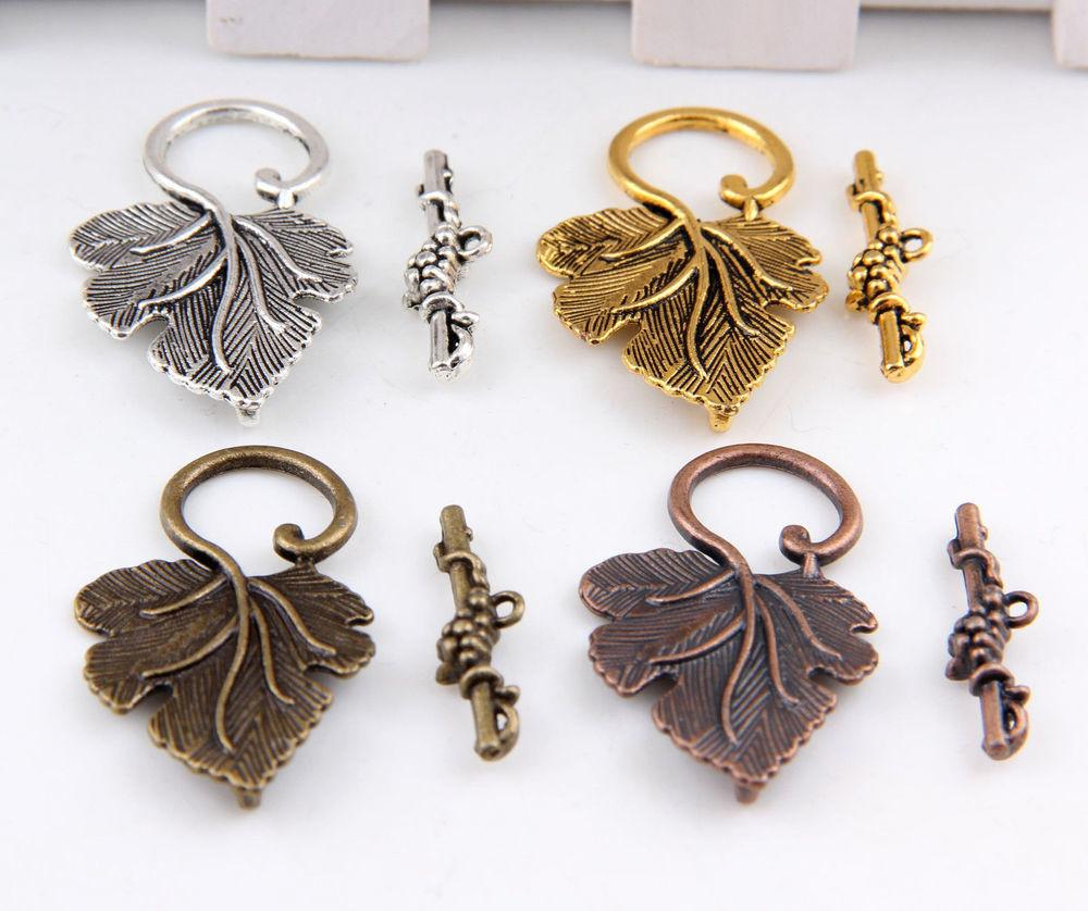 10sets Silver Gold Brass Grape Leaf Toggle Clasps Finding
