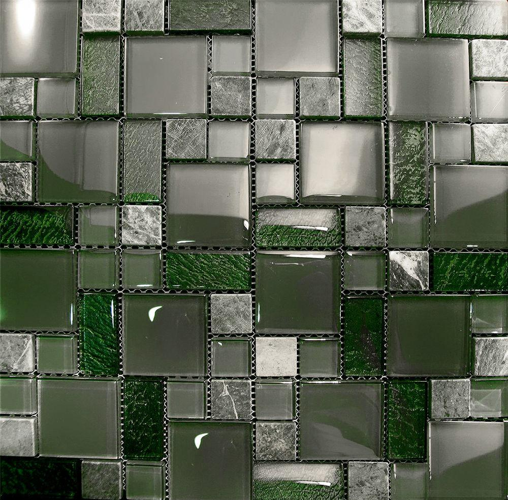 10sf Marble Green Crystal Glass Pattern Mosaic Kitchen