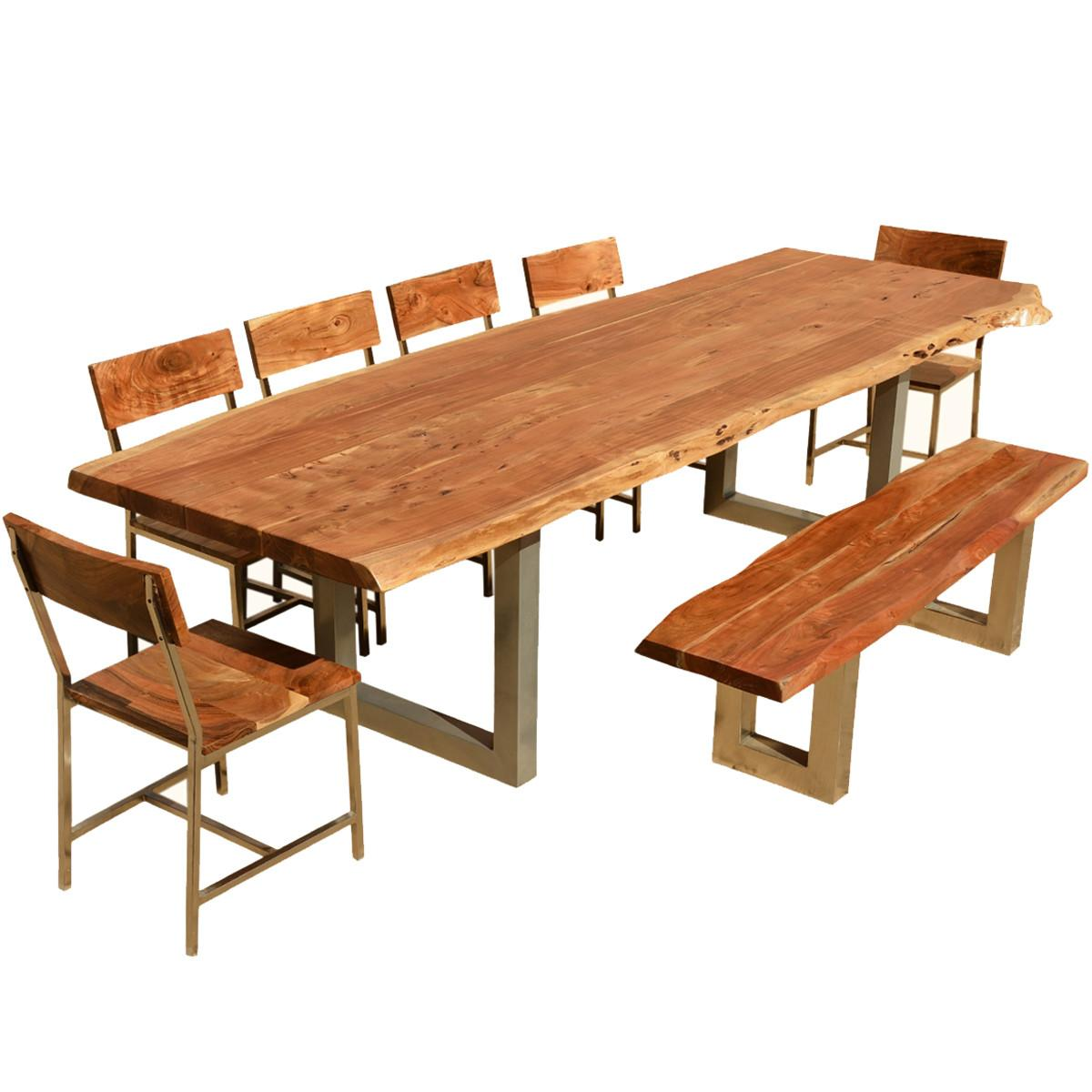 117 Live Edge Dining Table Chairs Bench Acacia