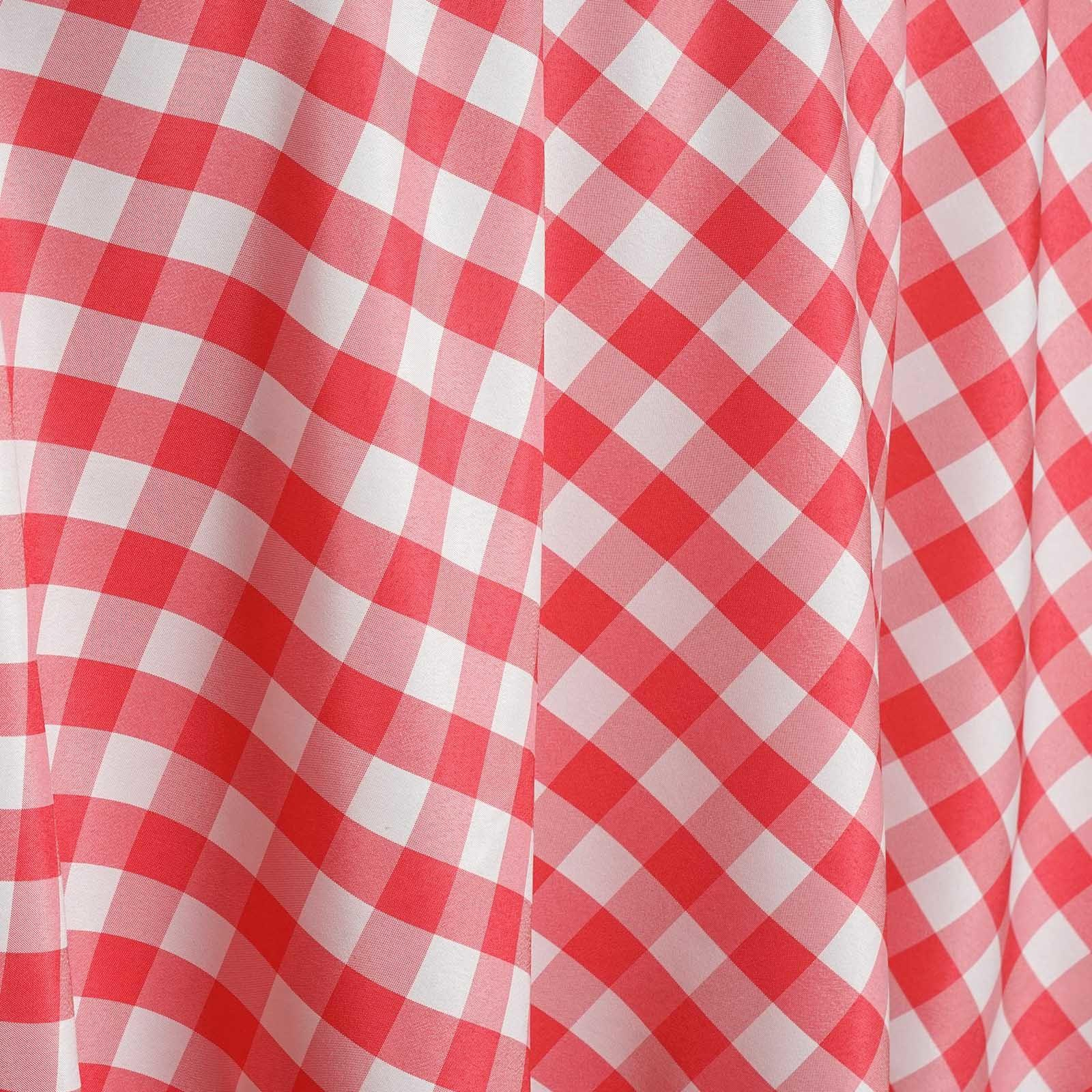 120 Checkered Gingham Polyester Round Tablecloth Wedding