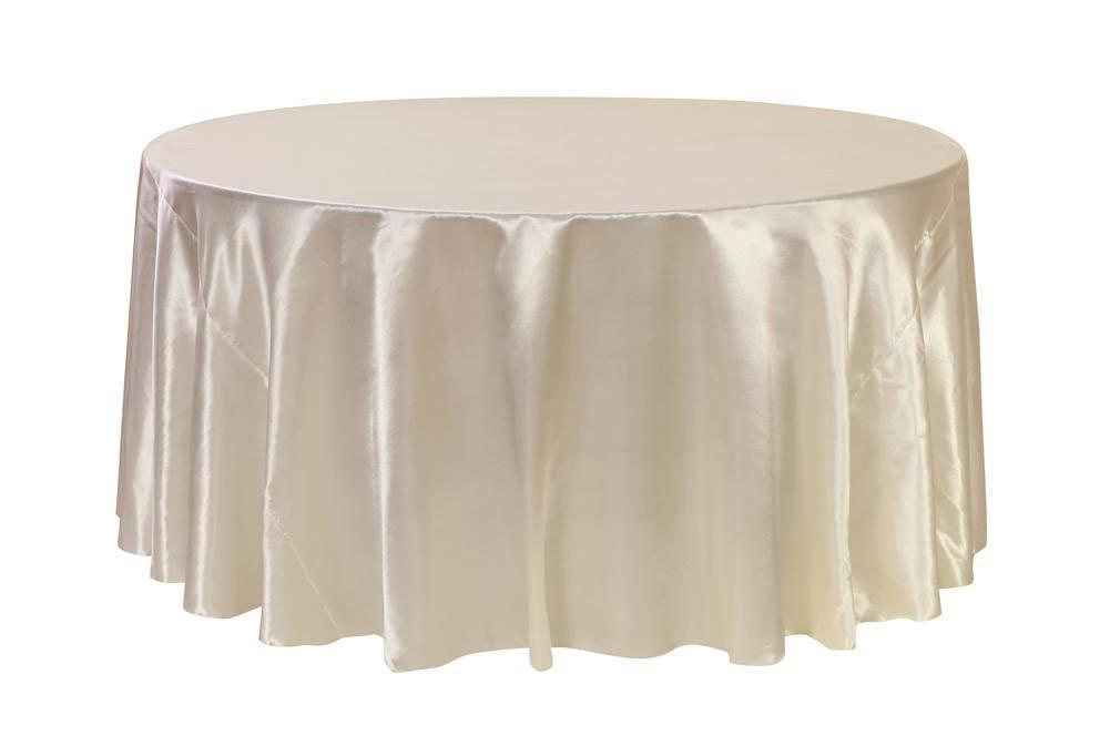120 Inch Ivory Satin Round Tablecloth Wedding Tablecloths