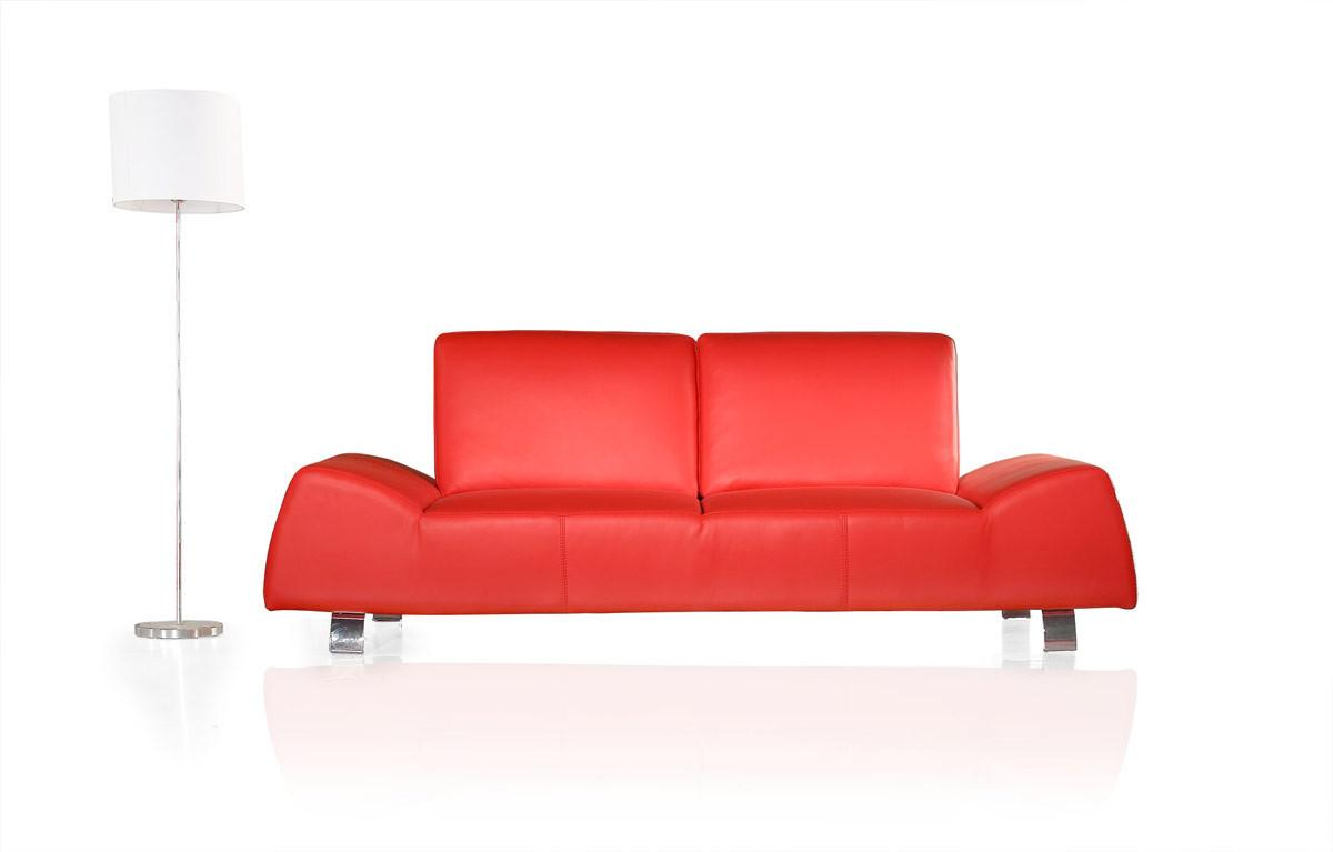 120 Modern Red Leather Sofa Love Seat