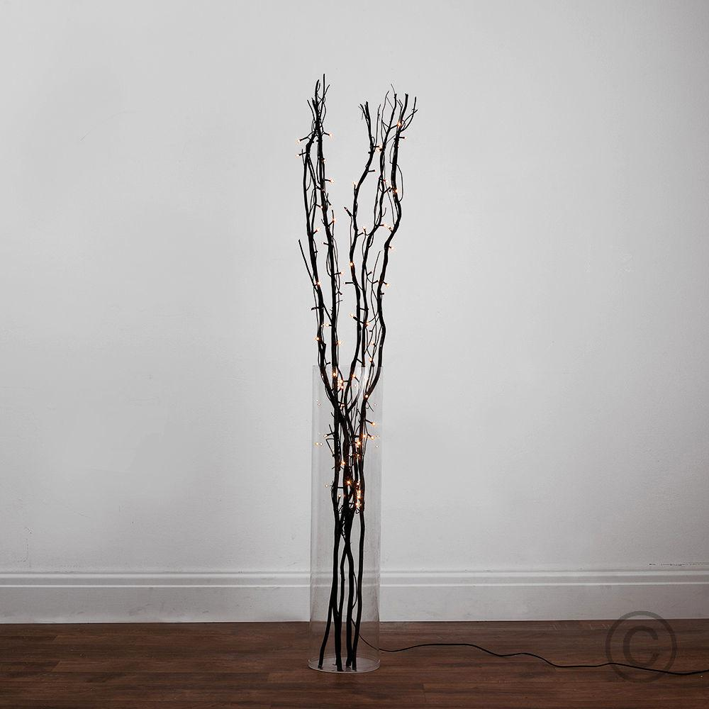 120cm Black Wood Led Twig Fairy Lights Floor Lamp Vase