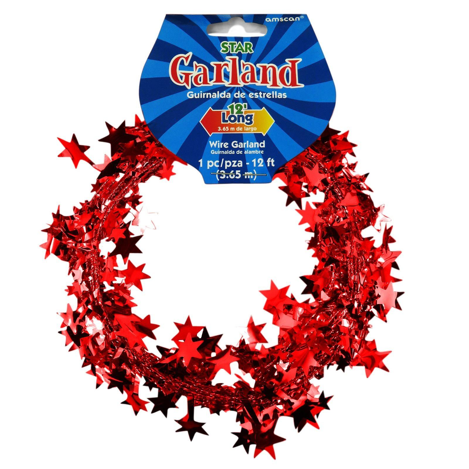 12ft Star Metallic Tinsel Wire Garland Christmas Tree