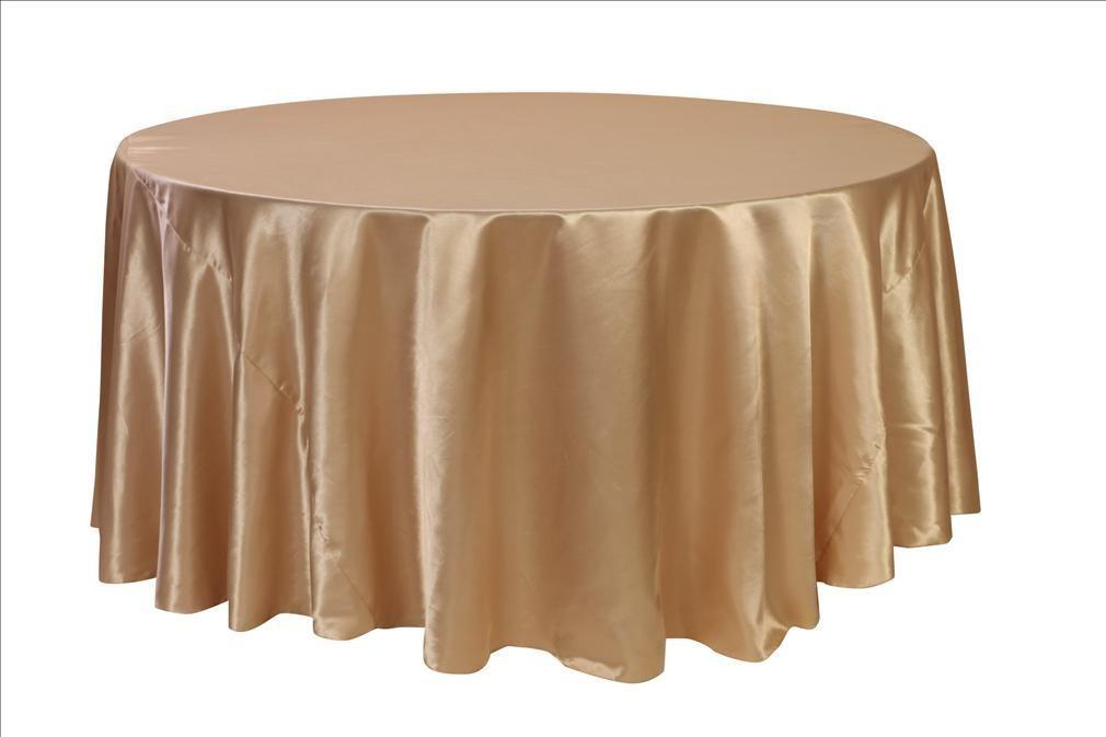 132 Inch Round Satin Tablecloths Champagne Weddings