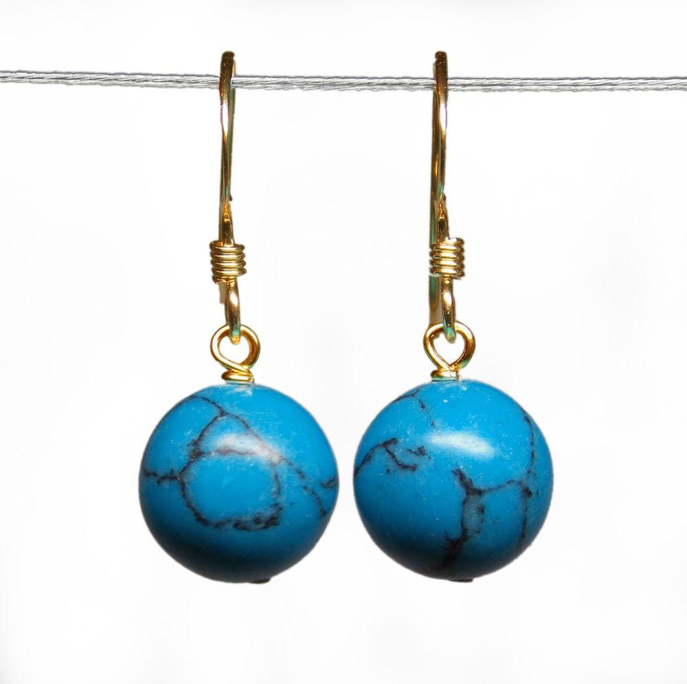14k Gold Filled 10mm Genuine Turquoise Bead Ball Drop