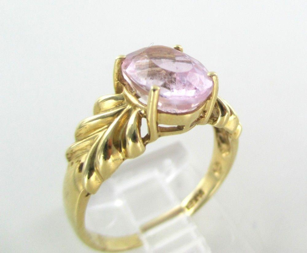 14k Solid Yellow Gold Ring Pink Stone Engagement Wedding