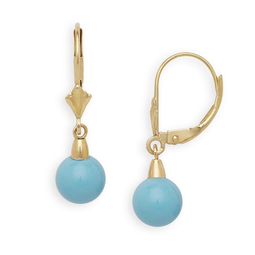 14k Yellow Gold Blue Simulated Turquoise Ball Drop