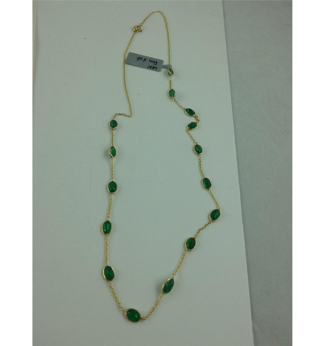 14kt Yellow Gold Natural Emerald Chanel Inspired Station