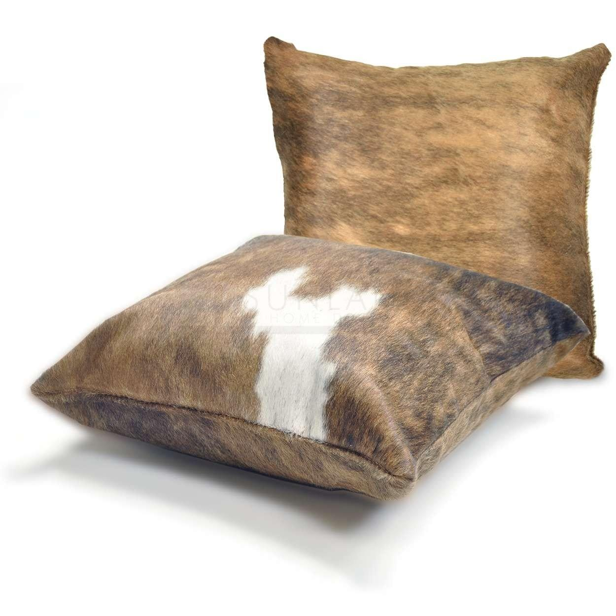 15in Premium Cowhide Pillow Tri Color Both Sides