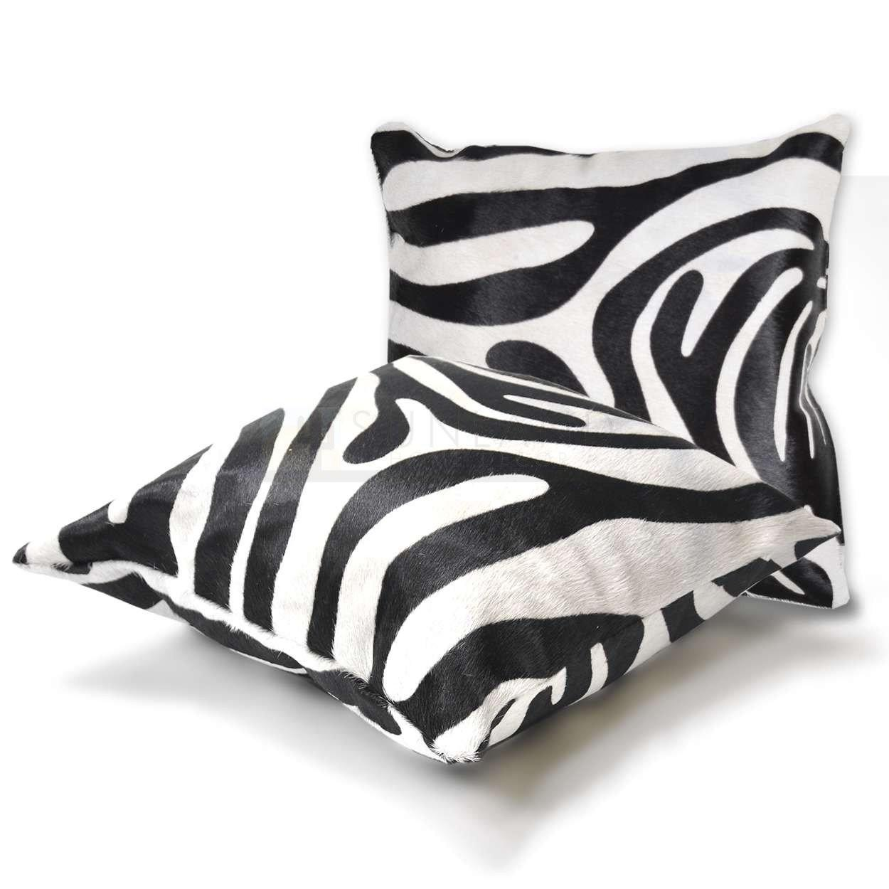 15in Premium Cowhide Pillow Zebra Black Stripe Sides