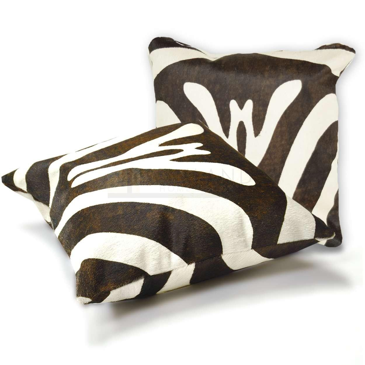 15in Premium Cowhide Pillow Zebra Brown Stripe Sides