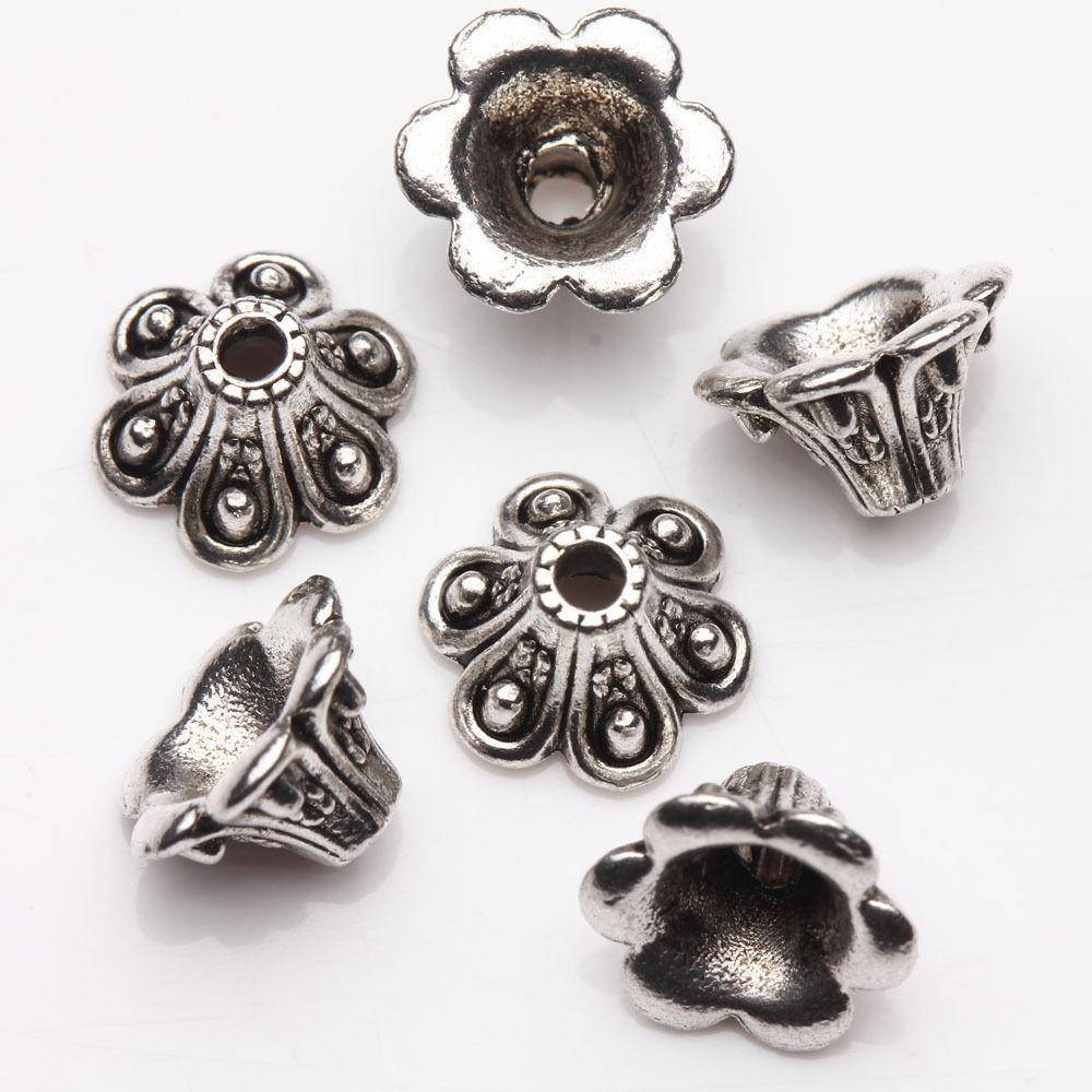 15pcs Tibet Silver Plated Arch Flower Spacer Bead Caps