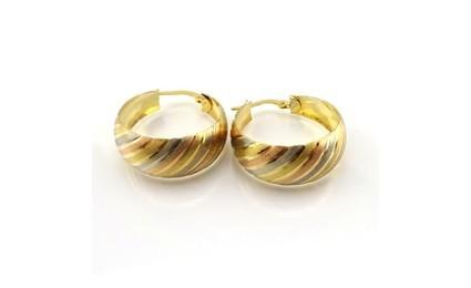 18ct Tri Coloured Wavy Hoop Earrings Buy Jewellery
