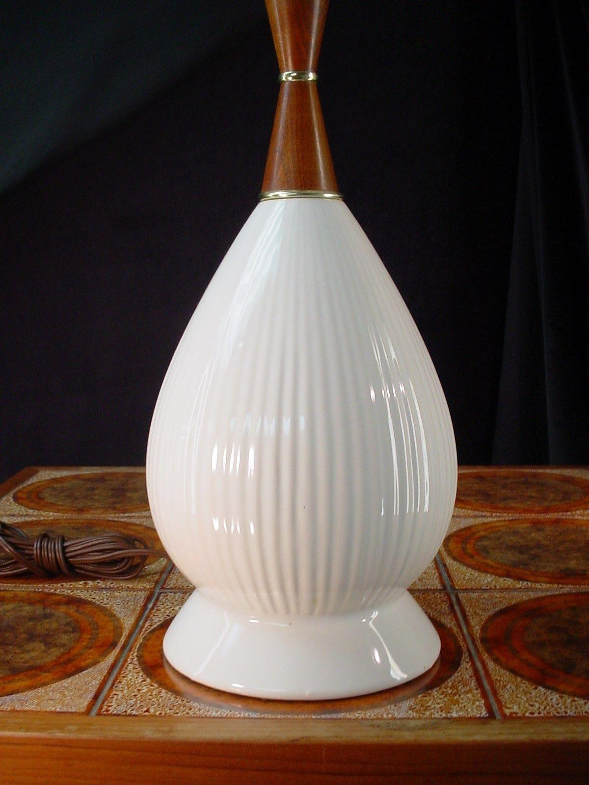 1960s Danish Modern Table Lamp Teak Wood White Ceramic Mid