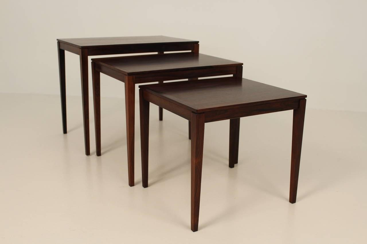 1960s Rosewood Nesting Stacking Tables Sale 1stdibs