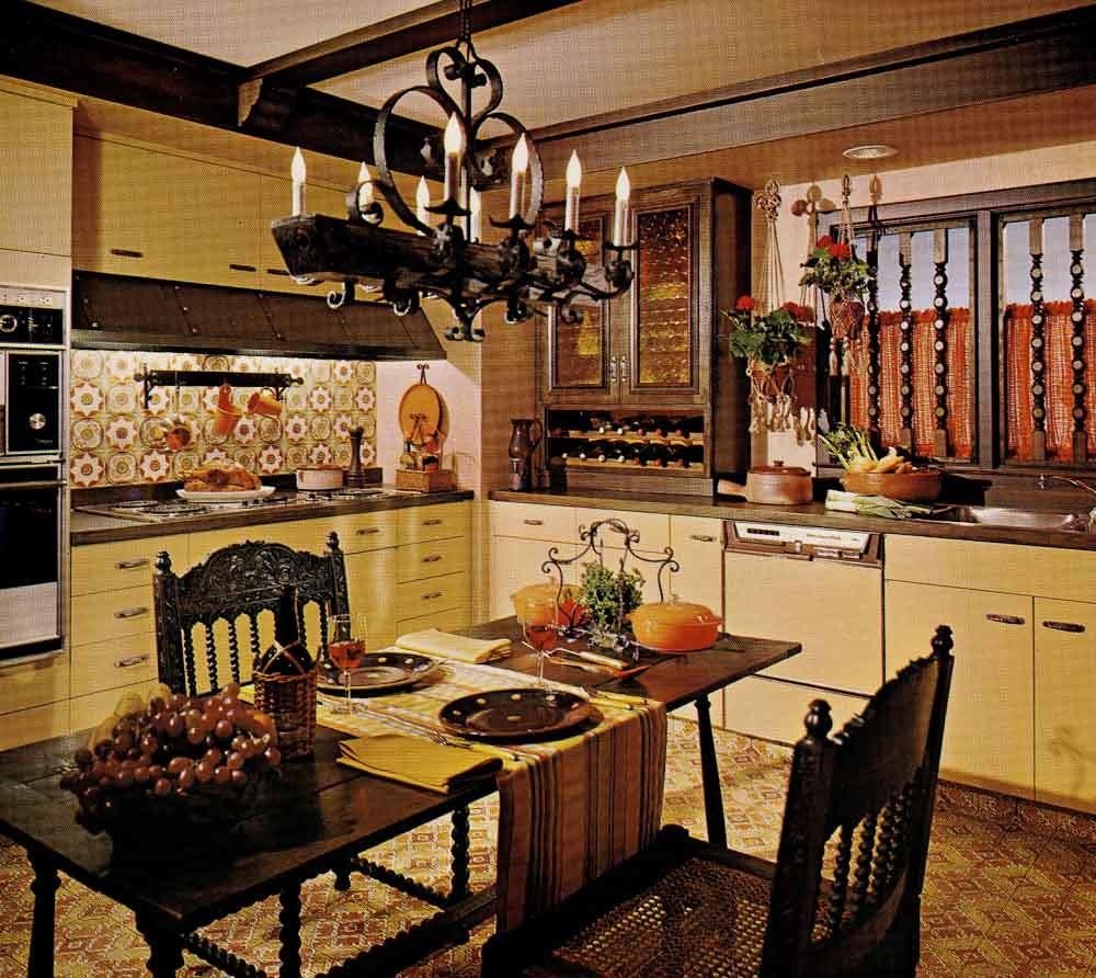 1970s Kitchen Design One Harvest Gold Decorated