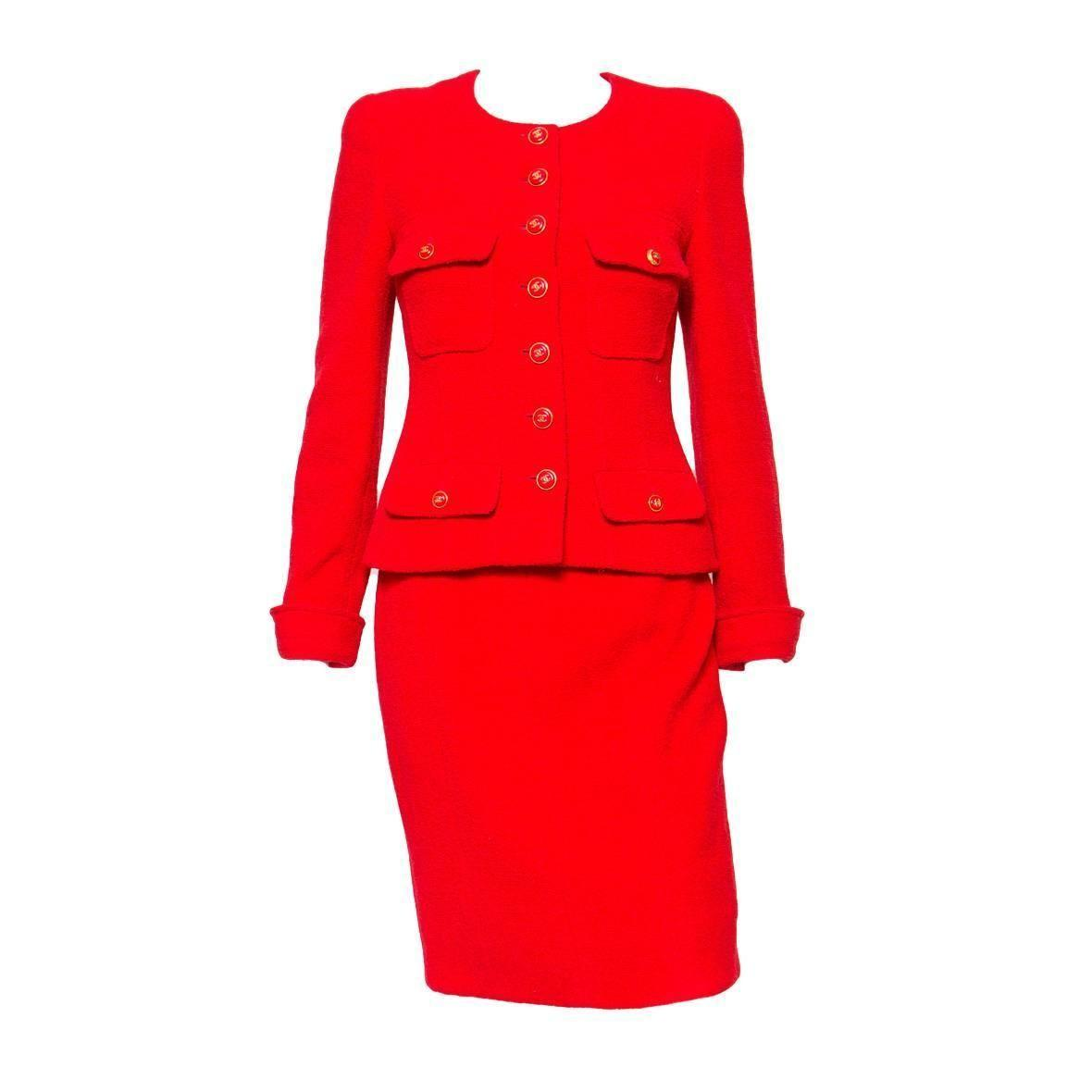 1990s Chanel Iconic Red Boucle Skirt Suit 1stdibs