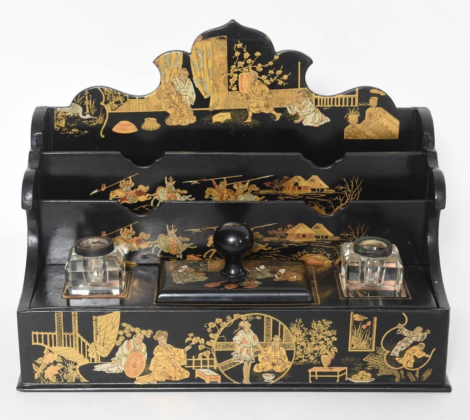 19th Century Chinoiserie Paper Mache Letter Rack