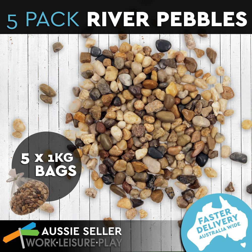 1kg Bag Garden Stones River Rock Pebbles Decor Indoor