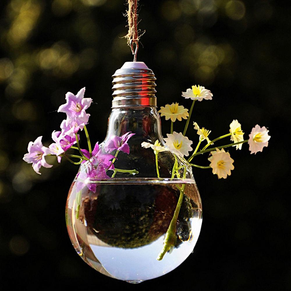 1pc Bulb Hanging Vases Crystal Flower Vase Planter