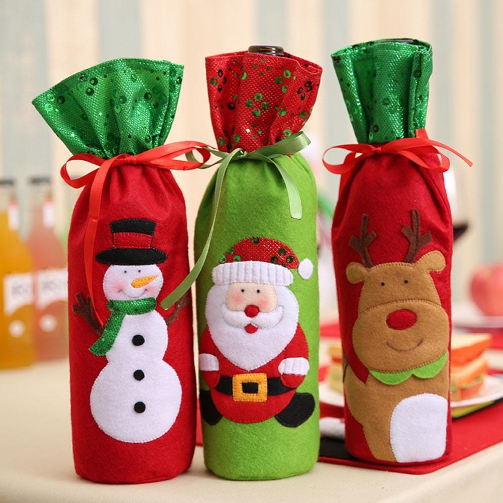 1pc Christmas New Year Wine Bottle Cover Decoration