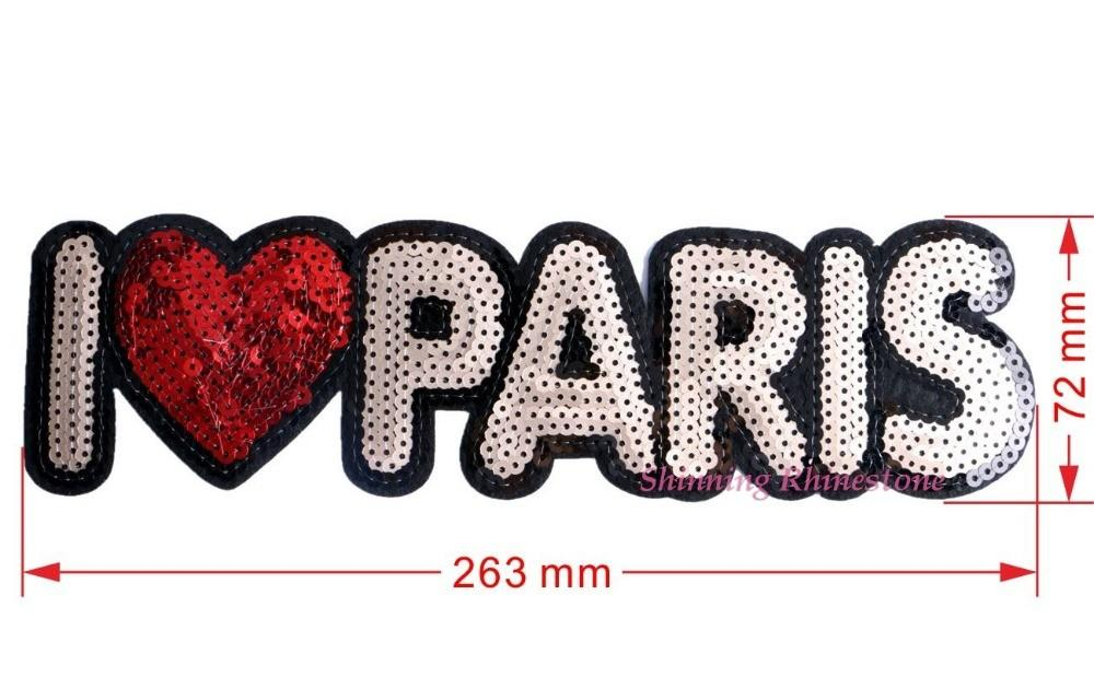 1pc Embroidered Patch Sequins Love Paris Iron Patches