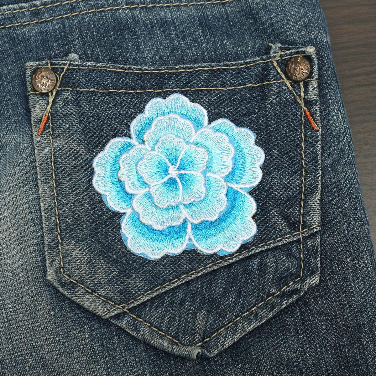 1pc Plum Flower Embroidery Diy Fabric Sticker