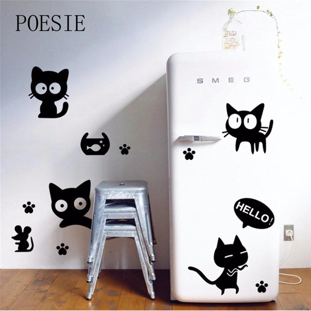 2016 Funny Cute Black Kitten Mouse Wall Sticker Home