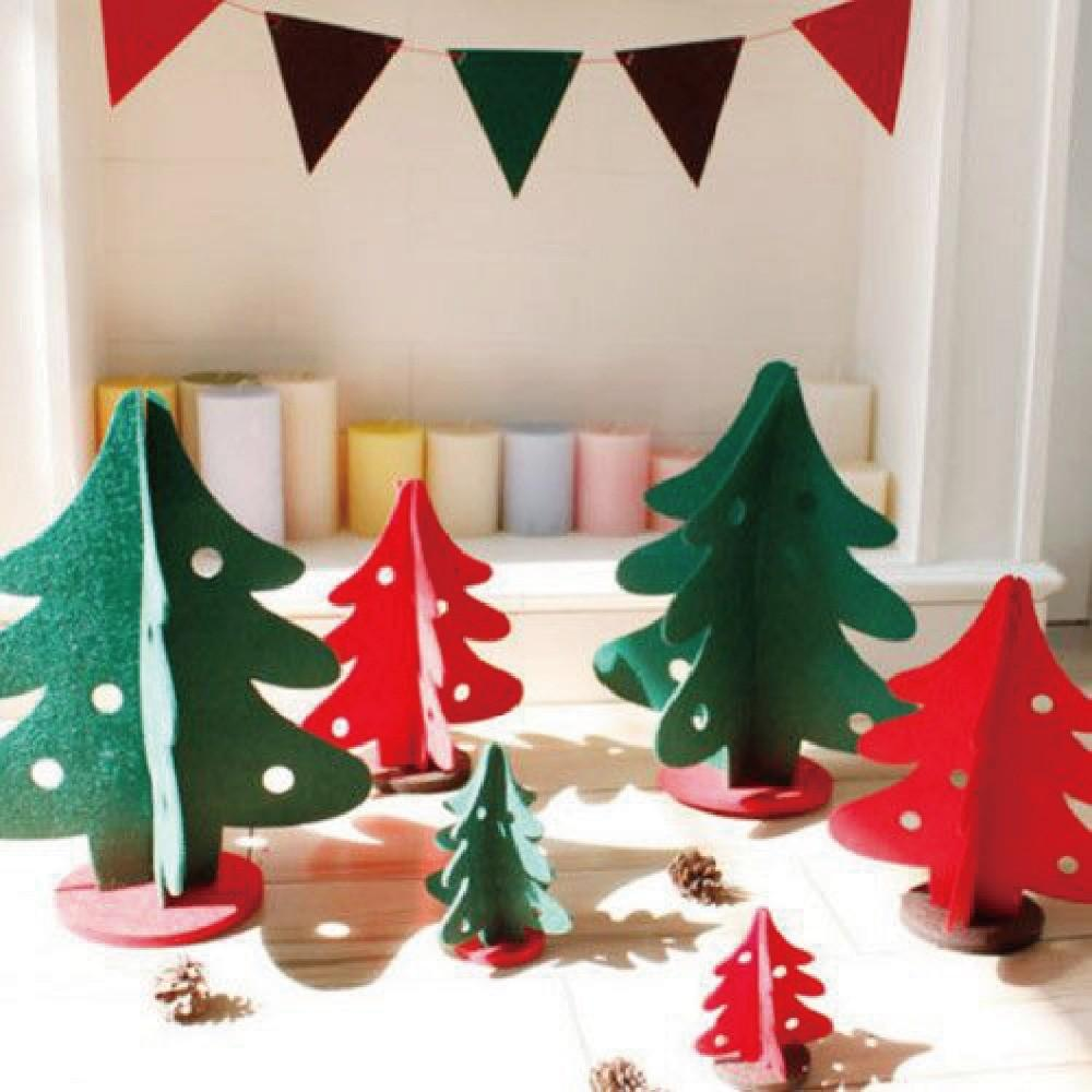 2016 New 3pcs Set Mini Felt Christmas Tree Diy Creative