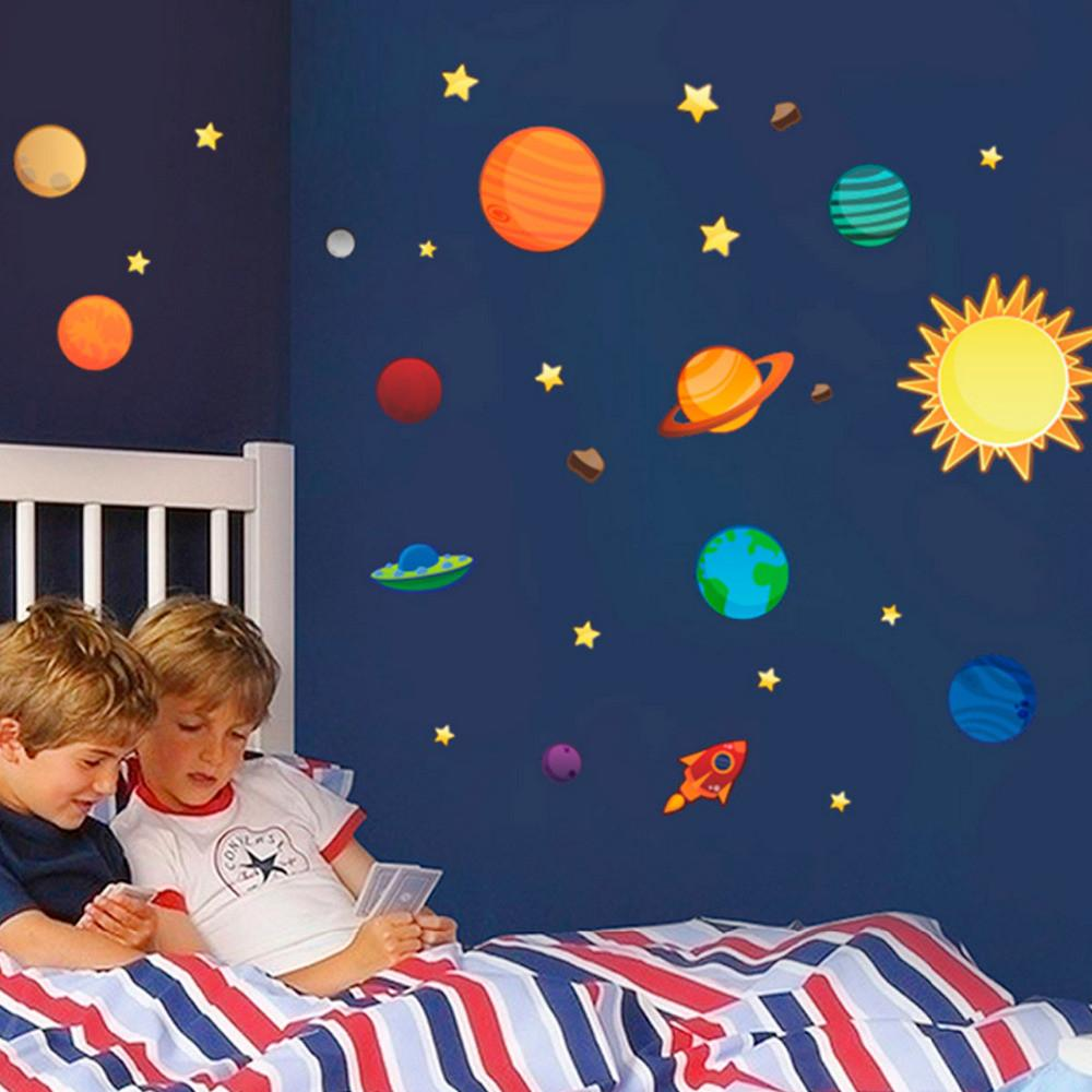 2016 New Creative Solar System Wall Stickers Plane