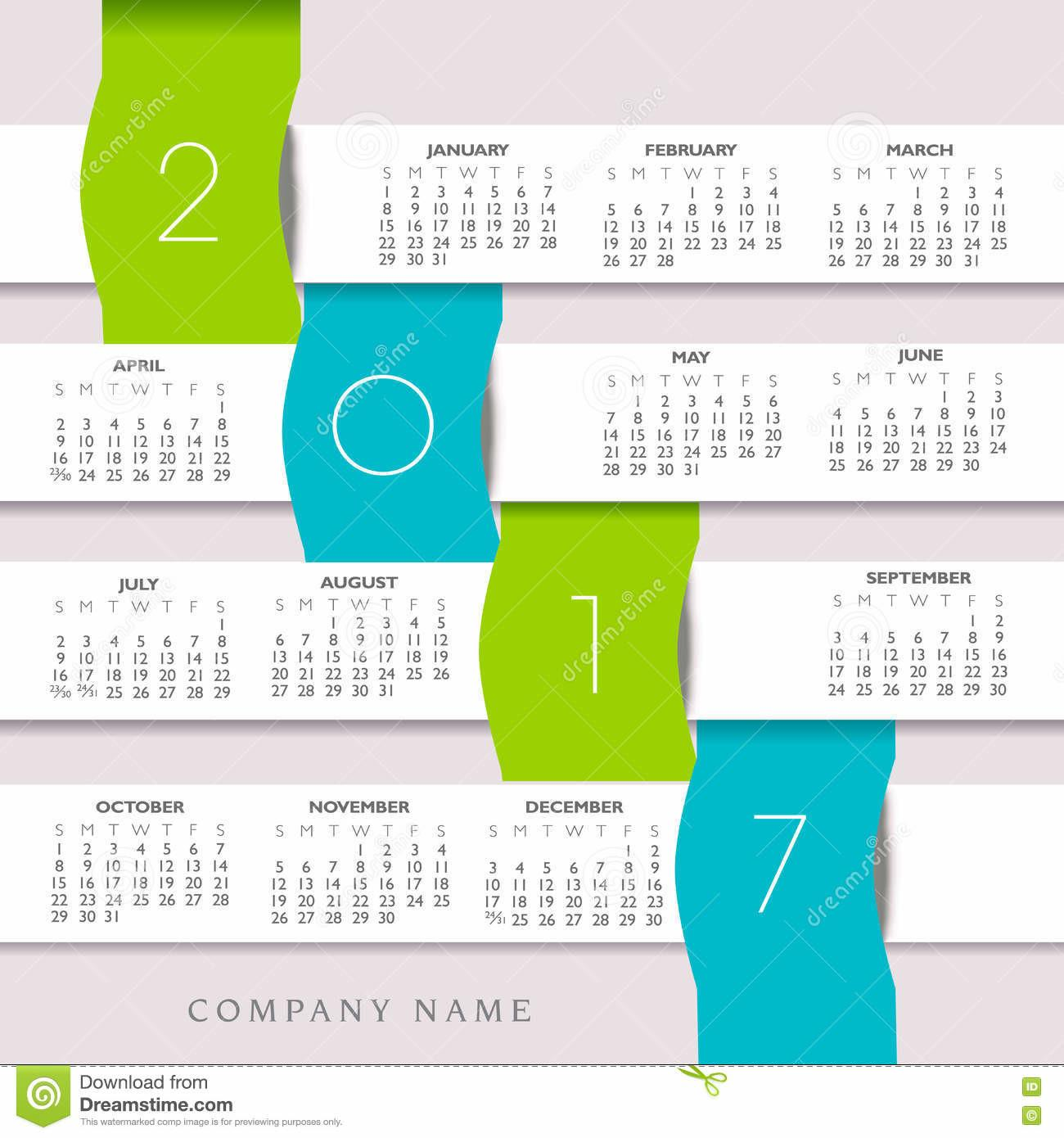 2017 Colorful Creative Calendar Infographic Banners